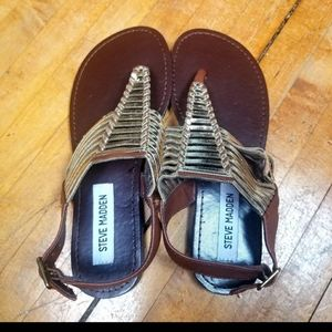 Steve Madden Starly Gold and Brown Sandal